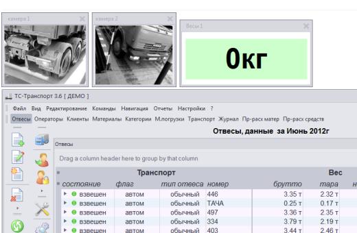 Интерфейс программы взвешивания вагонов